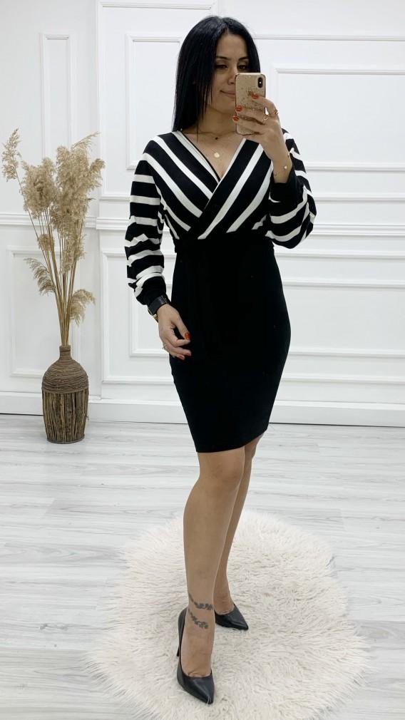 Önü Arkası Kruvaze Triko Elbise - SİYAH