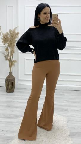 Yüksek Bel İspanyol Paça Pantolon - TABA
