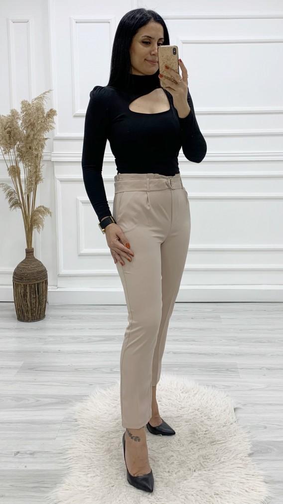 Yüksek Bel Kumaş Pantolon - BEJ