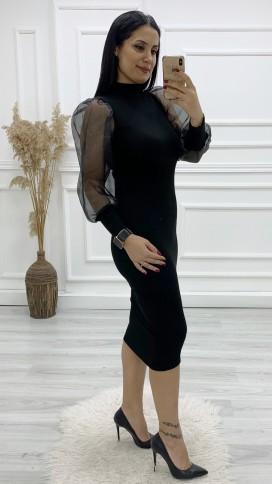 Organze Kol Triko Elbise - SİYAH