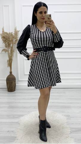 Deri Kol Kazayağı Mini Elbise - SİYAH