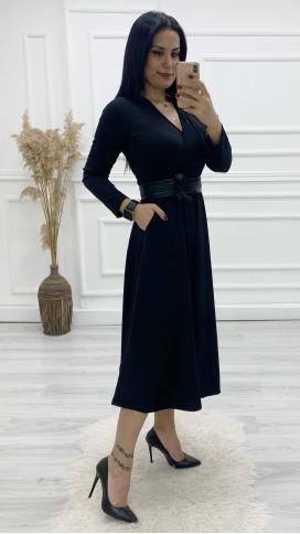 Kruvaze Cepli Kemerli Midi Elbise - SİYAH
