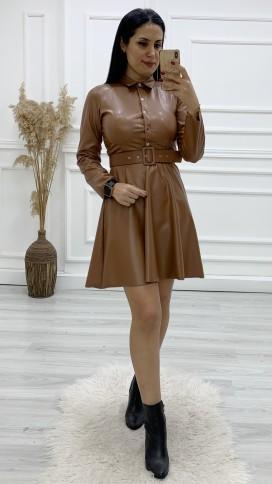 Yakalı Volan Deri Elbise - TABA