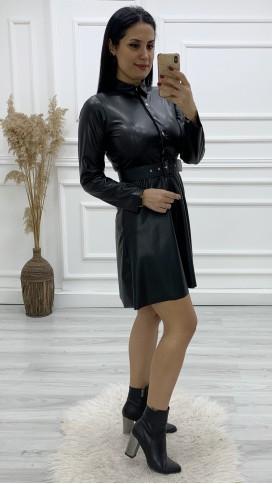 Yakalı Volan Deri Elbise - SİYAH