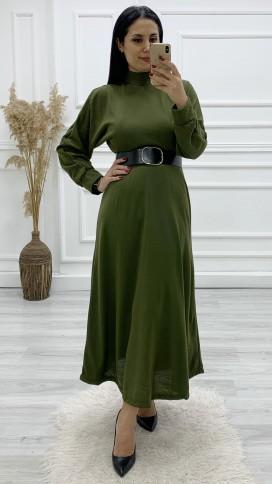 Yarasa Kol Triko Kemerli Elbise - HAKİ