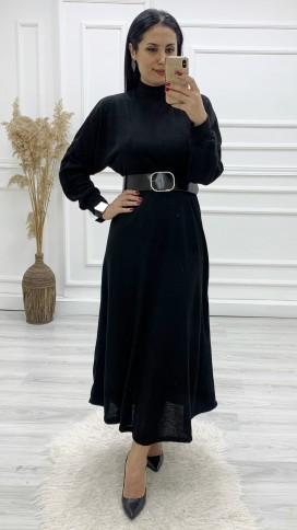 Yarasa Kol Triko Kemerli Elbise - SİYAH