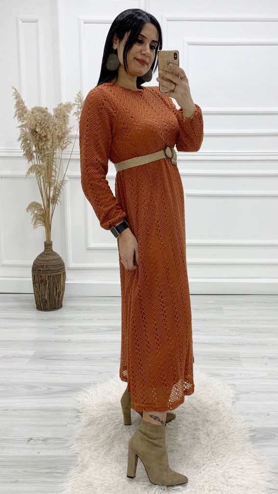 Kemerli Dantel Uzun Elbise - KİREMİT