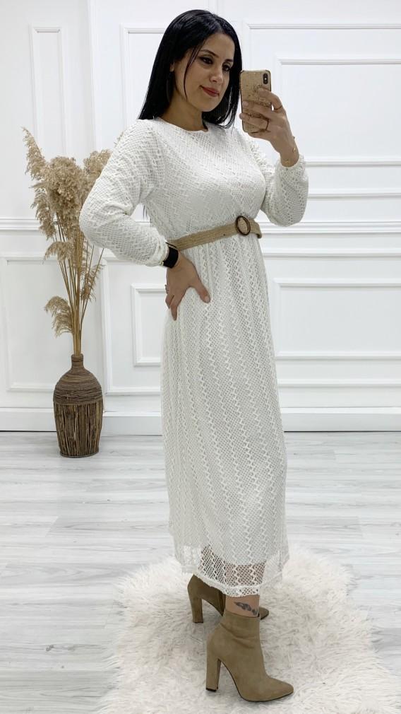 Kemerli Dantel Uzun Elbise - BEJ