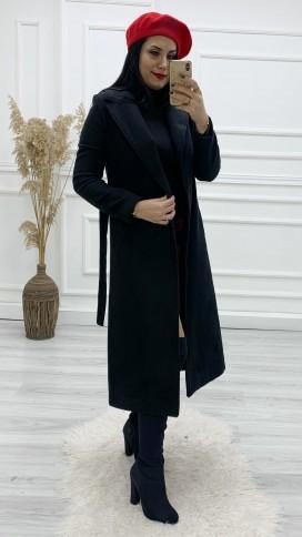 Astarlı Kuşaklı Kaşe Palto - SİYAH