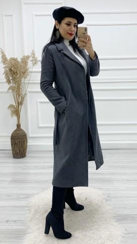 Astarlı Kuşaklı Kaşe Palto - GRİ