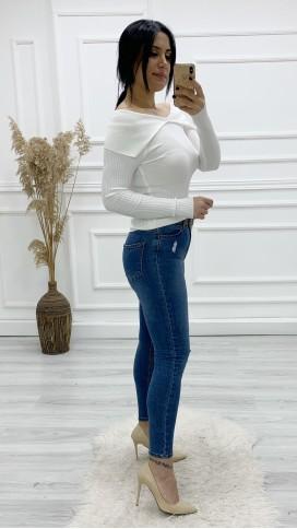 Yırtık Detay Skinny Jean Pantolon - MAVİ