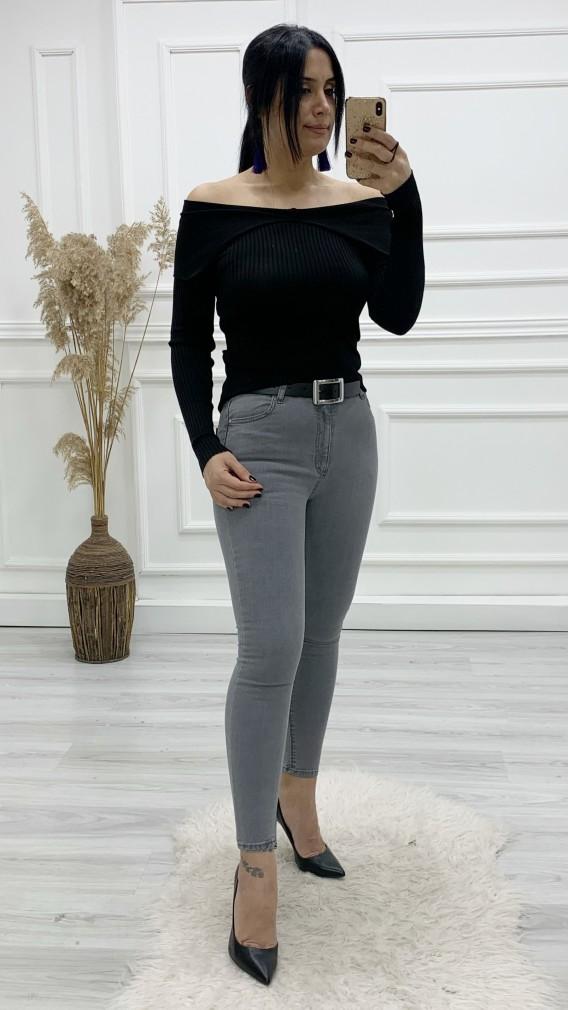 Yüksek Bel Likralı Skinny Jean - GRİ