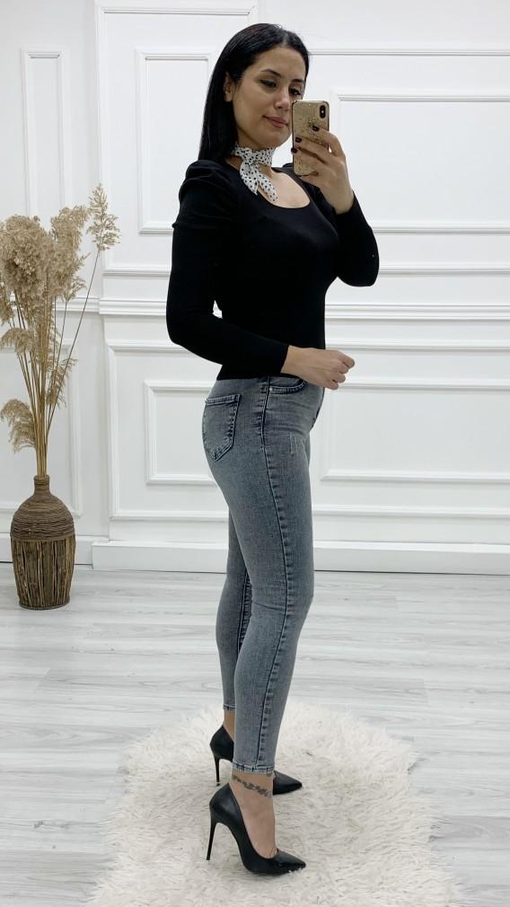 Yüksek Bel Likralı Skinny Jean - FÜME