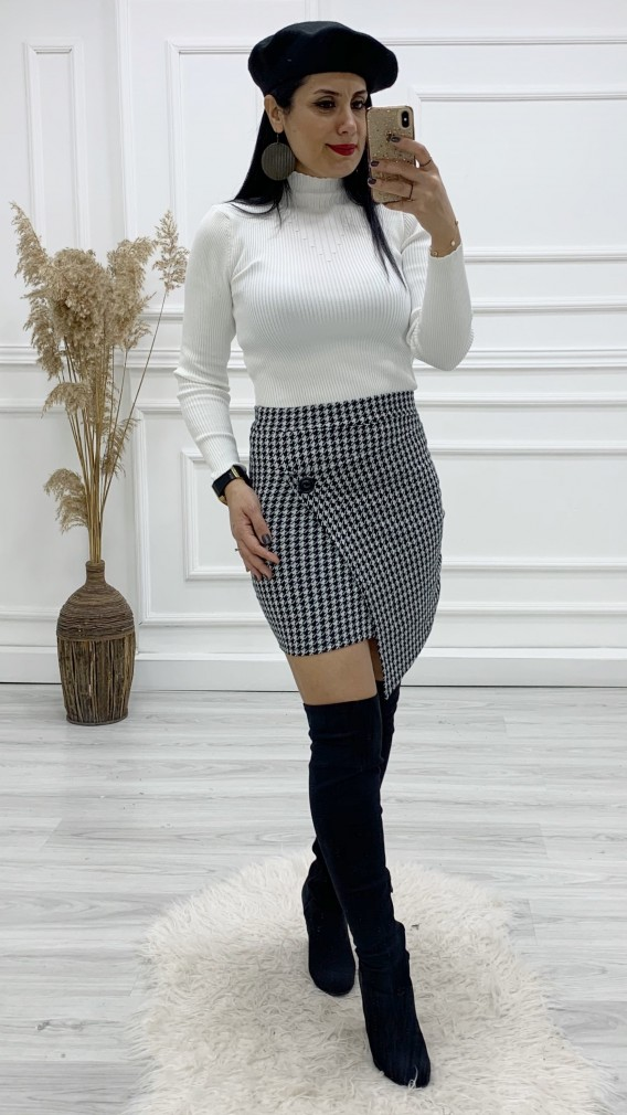 Kaşe Etek Triko Bluz Kombini - GRİ