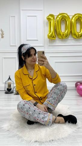 Ceket Yaka Düğmeli Pijama Takımı - SARI