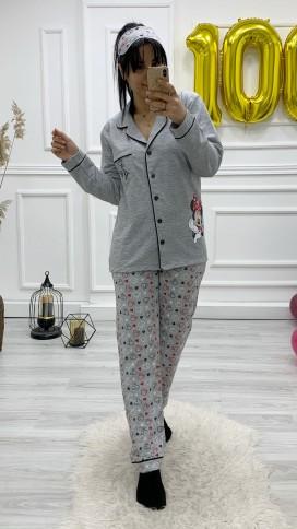 Ceket Yaka Düğmeli Pijama Takımı - GRİ