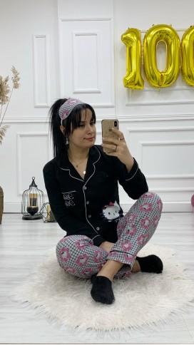 Ceket Yaka Düğmeli Pijama Takımı - SİYAH
