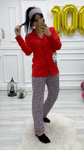 Ceket Yaka Düğmeli Pijama Takımı - KIRMIZI