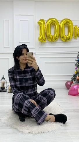 Düğmeli Ekose Pijama Takımı - LİLA