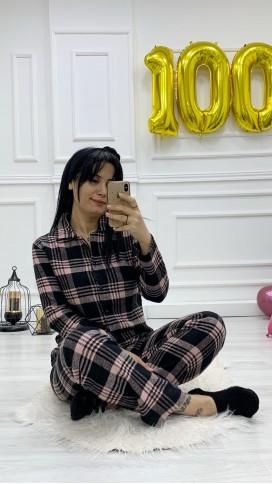 Düğmeli Ekose Pijama Takımı - PEMBE