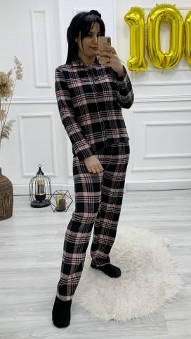 Düğmeli Kaşe Pijama Takımı - PEMBE