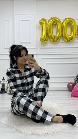 Düğmeli Kaşe Pijama Takımı - SİYAH