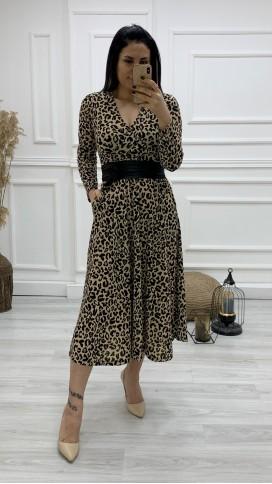 Deri Kemerli Kruvaze Midi Elbise - LEOPAR