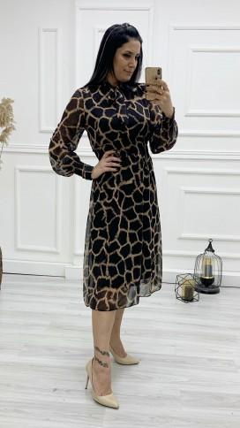 Boyundan Bağlı Gipeli Şifon Elbise - SİYAH