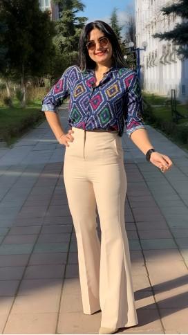 Kilim Desen Gömlek - LACİVERT