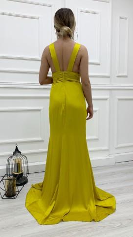 Drapeli Yırtmaçlı Saten Elbise - HARDAL
