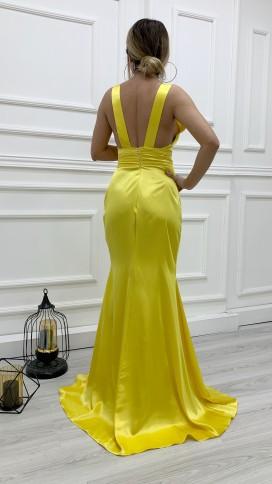 Drapeli Yırtmaçlı Saten Elbise - SARI