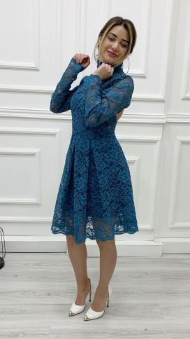 Sırt Dekolteli Güpür Elbise - PETROL MAVİ