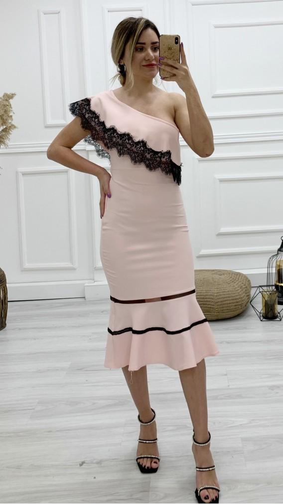 Tek Kol Güpür Detay Elbise - PUDRA