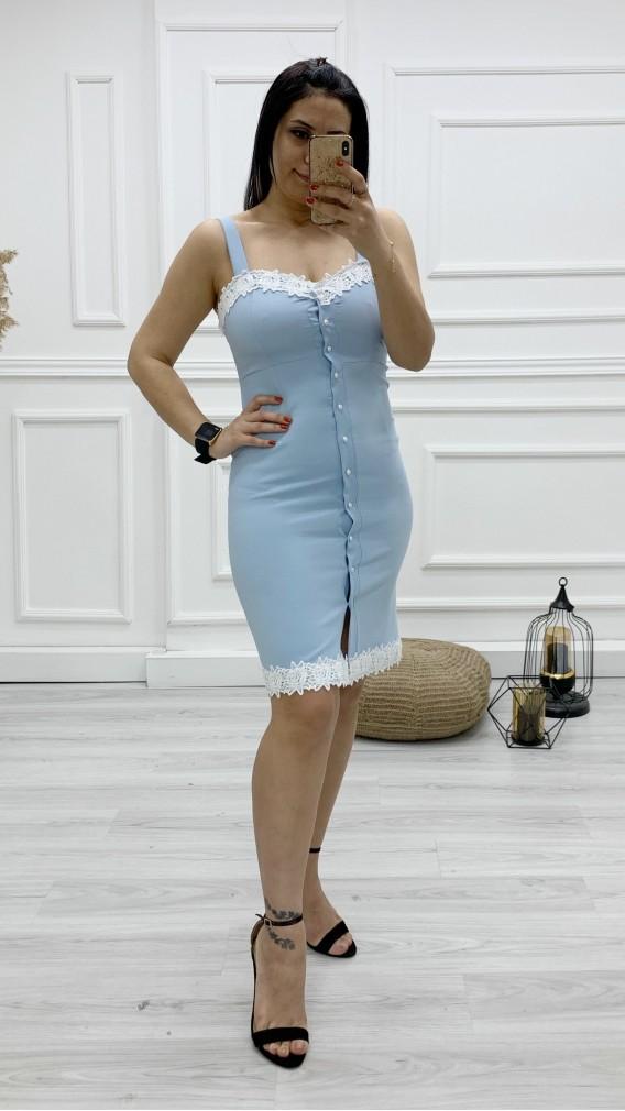 Düğmeli Dantel Detay Elbise - BEBE MAVİ