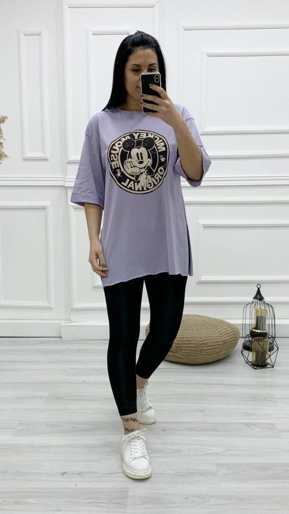 Micky Baskılı Tişört - LİLA