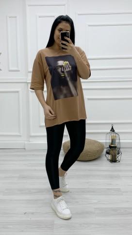 Kadın Baskılı Tişört - TABA
