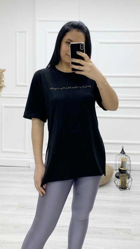 İnce Yazılı Tişört - SİYAH