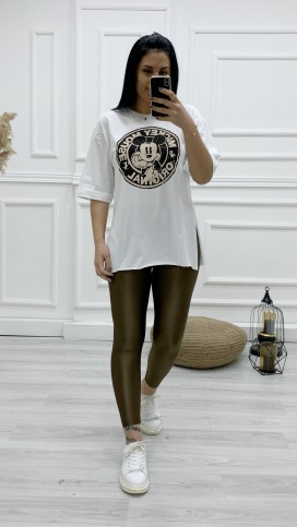Micky Baskılı Tişört - BEYAZ