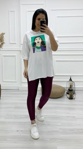 Kadın Baskılı Tişört - BEYAZ