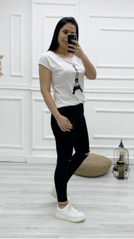 Diz Yırtık Skinny Jean Pantolon - SİYAH