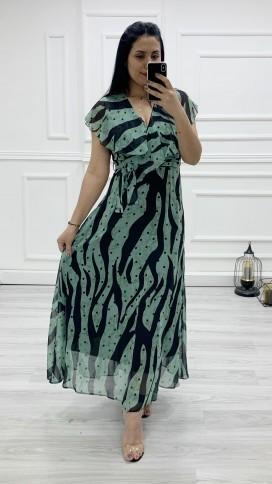 Yakası Fırıfr Kruvaze Şifon Elbise - YEŞİL