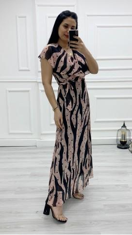 Yakası Fırıfr Kruvaze Şifon Elbise - PUDRA