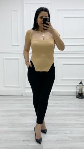 Kalp Yaka Merserize Bluz - CAMEL