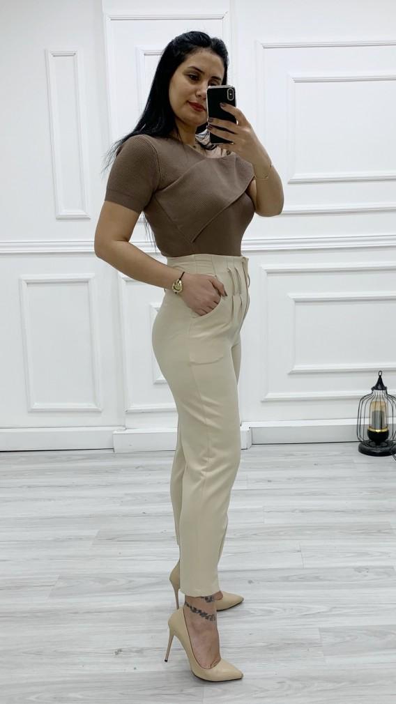 Bel Paça Pensli Kumaş Pantolon - BEJ