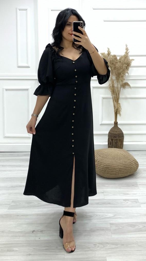 Fakir Kol Düğmeli Yırtmaçlı Elbise - SİYAH