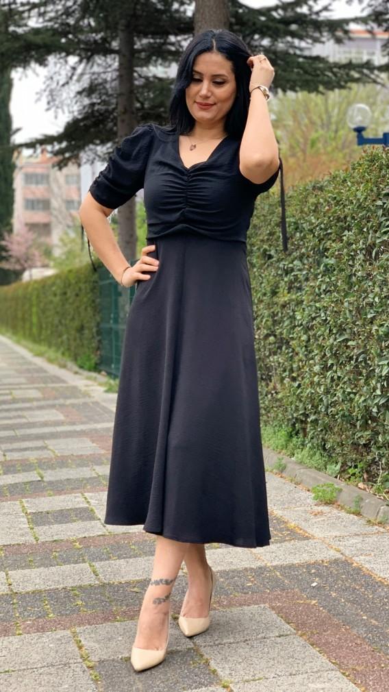 Drapeli Elbise - SİYAH