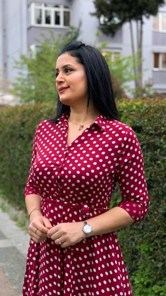 Puantiyeli Gömlek Elbise - BORDO