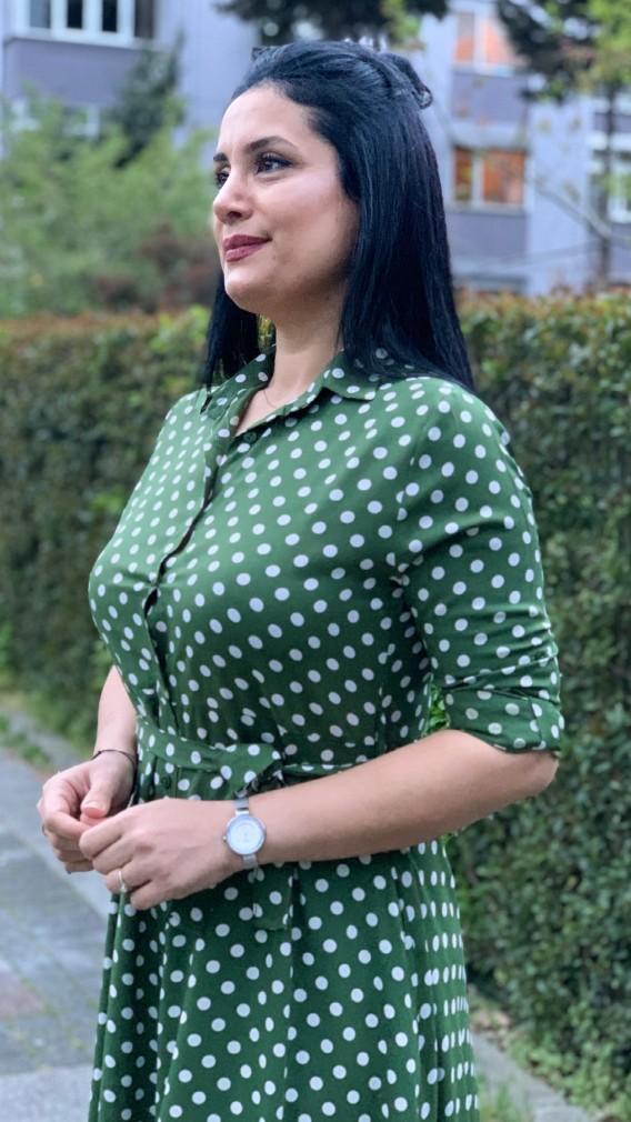 Puantiyeli Gömlek Elbise - HAKİ