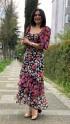 Kalp Yaka Meyve Desen Şifon Elbise - SİYAH