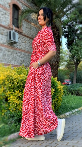 Çiçek Desen Gömlek Elbise - KIRMIZI